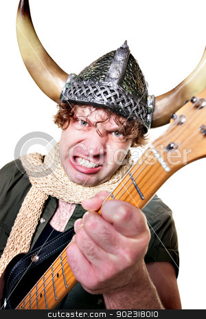 Intense Guitarist with Viking Helmet stock photo, Handsome Caucasian male with guitar over white background by Scott Griessel