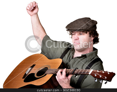 Serious Man Playing Guitar stock photo, Serious European folk musician playing guitar over white by Scott Griessel