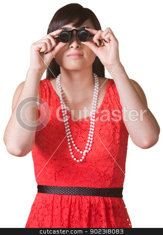 Serious Lady with Jewelers Glasses stock photo, Serious woman in red looking through jewelers glasses by Scott Griessel