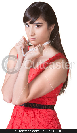Beautiful Woman Pouting stock photo, Pretty young woman pouting and grabbing necklace by Scott Griessel
