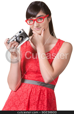 Pensive Woman with Camera stock photo, Pensive woman with red eyeglasses and camera by Scott Griessel