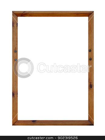 Blank wooden frame with copy space stock photo, Blank wooden picture frame with copy space, white background. by Martin Crowdy