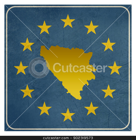 Bosnia and Herzegovina European sign stock photo, Bosnia and Herzegovina European sign isolated on white background with copy space.  by Martin Crowdy