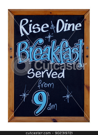 Cafe breakfast advert stock photo, Advert on blackboard for rise and dine breakfast served from 9am. by Martin Crowdy