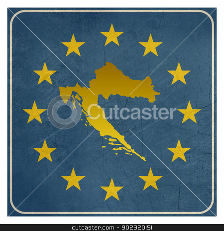 Croatia European sign stock photo, Croatia European sign isolated on white background with copy space.  by Martin Crowdy