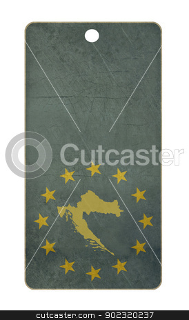 Croatia travel tag stock photo, Croatia travel tag isolated on white background with copy space.  by Martin Crowdy