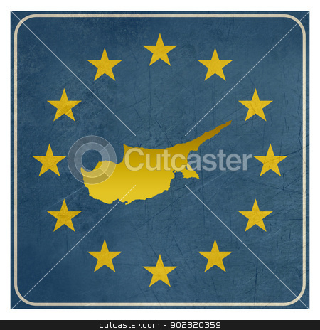 Cyprus European sign stock photo, Cyprus European sign isolated on white background with copy space.  by Martin Crowdy