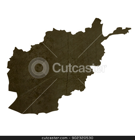 Dark silhouetted map of Afghanistan stock photo, Dark silhouetted and textured map of Afghanistan isolated on white background. by Martin Crowdy