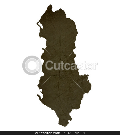 Dark silhouetted map of Albania stock photo, Dark silhouetted and textured map of Albania isolated on white background. by Martin Crowdy
