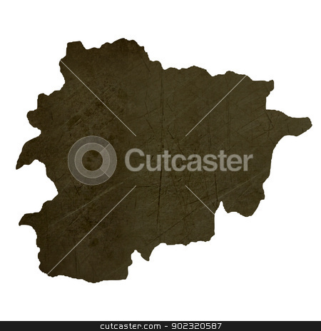 Dark silhouetted map of Andorra stock photo, Dark silhouetted and textured map of Andorra isolated on white background. by Martin Crowdy