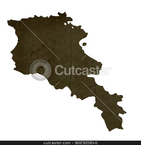 Dark silhouetted map of Armenia stock photo, Dark silhouetted and textured map of Armenia isolated on white background. by Martin Crowdy
