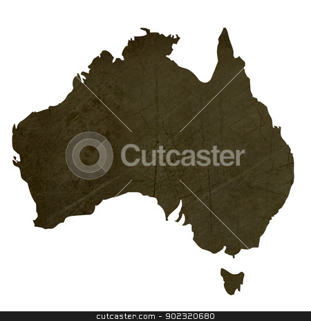 Dark silhouetted map of Australia stock photo, Dark silhouetted and textured map of Australia isolated on white background. by Martin Crowdy
