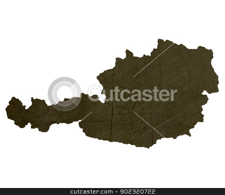 Dark silhouetted map of Austria stock photo, Dark silhouetted and textured map of Austria isolated on white background. by Martin Crowdy