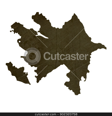 Dark silhouetted map of Azerbaijan stock photo, Dark silhouetted and textured map of Azerbaijan isolated on white background. by Martin Crowdy