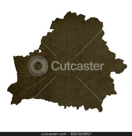 Dark silhouetted map of Belarus stock photo, Dark silhouetted and textured map of Belarus isolated on white background. by Martin Crowdy