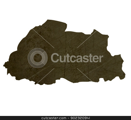 Dark silhouetted map of Bhutan stock photo, Dark silhouetted and textured map of Bhutan isolated on white background. by Martin Crowdy