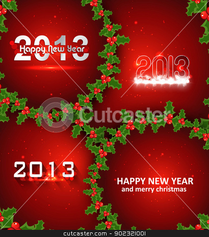 Happy new year 2013 circle red colorful creative background vect stock vector clipart, Happy new year 2013 circle red colorful creative background vector by bharat pandey