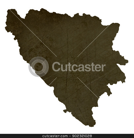 Dark silhouetted map of Bosnia and Herzegovina stock photo, Dark silhouetted and textured map of Bosnia and Herzegovina isolated on white background. by Martin Crowdy