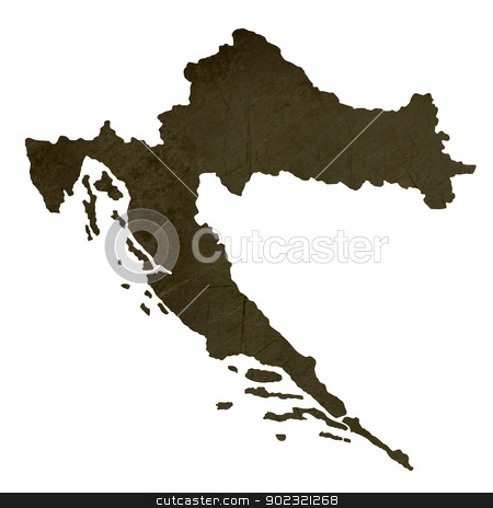 Dark silhouetted map of Croatia stock photo, Dark silhouetted and textured map of Croatia isolated on white background. by Martin Crowdy