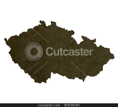 Dark silhouetted map of Czech Republic stock photo, Dark silhouetted and textured map of Czech Republic isolated on white background. by Martin Crowdy