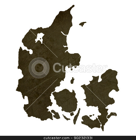 Dark silhouetted map of Denmark stock photo, Dark silhouetted and textured map of Denmark isolated on white background. by Martin Crowdy