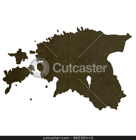 Dark silhouetted map of Estonia stock photo, Dark silhouetted and textured map of Estonia isolated on white background. by Martin Crowdy
