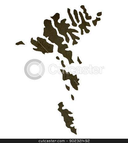 Dark silhouetted map of Faroe Islands stock photo, Dark silhouetted and textured map of Faroe Islands isolated on white background. by Martin Crowdy