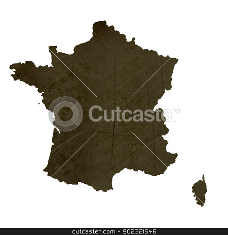 Dark silhouetted map of France stock photo, Dark silhouetted and textured map of France isolated on white background. by Martin Crowdy