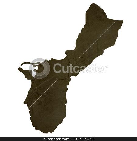 Dark silhouetted map of Guam stock photo, Dark silhouetted and textured map of Guam isolated on white background. by Martin Crowdy