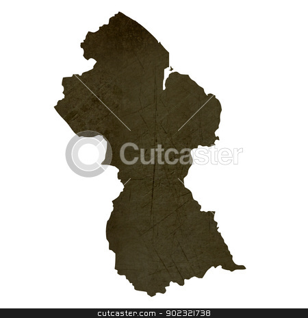 Dark silhouetted map of Guyana stock photo, Dark silhouetted and textured map of Guyana isolated on white background. by Martin Crowdy