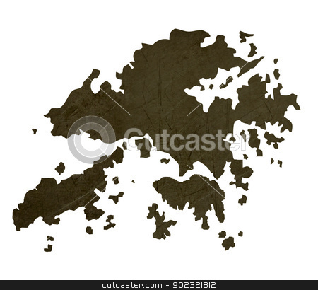 Dark silhouetted map of Hong Kong stock photo, Dark silhouetted and textured map of Hong Kong isolated on white background. by Martin Crowdy