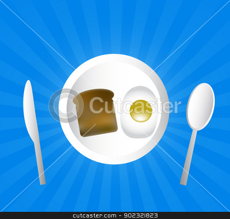The breakfast stock photo, Egg, toast on a plate with spoon and knife by adriatix