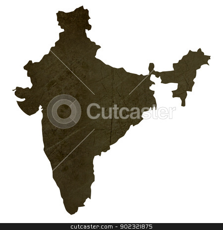 Dark silhouetted map of India stock photo, Dark silhouetted and textured map of India isolated on white background. by Martin Crowdy