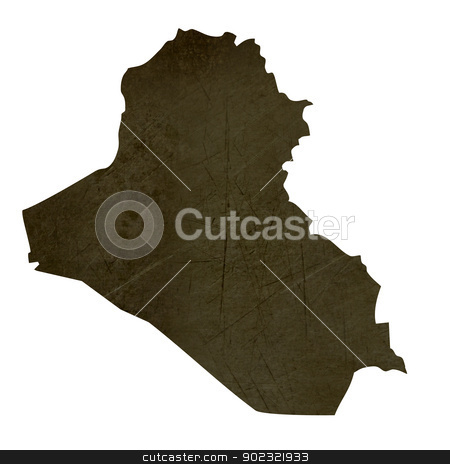 Dark silhouetted map of Iraq stock photo, Dark silhouetted and textured map of Iraq isolated on white background. by Martin Crowdy