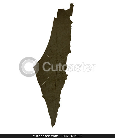 Dark silhouetted map of Israel stock photo, Dark silhouetted and textured map of Israel isolated on white background. by Martin Crowdy