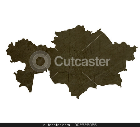Dark silhouetted map of Kazahkstan stock photo, Dark silhouetted and textured map of Kazahkstan isolated on white background. by Martin Crowdy