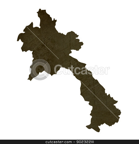 Dark silhouetted map of Laos stock photo, Dark silhouetted and textured map of Laos isolated on white background. by Martin Crowdy