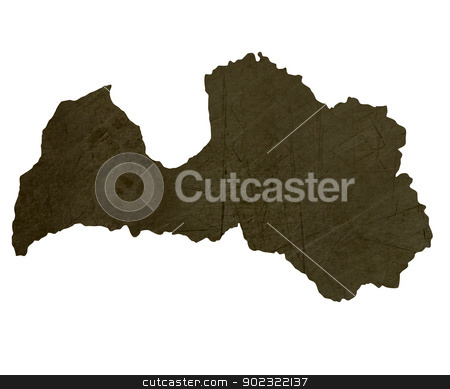 Dark silhouetted map of Latvia stock photo, Dark silhouetted and textured map of Latvia isolated on white background. by Martin Crowdy