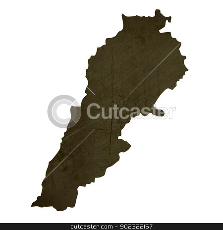 Dark silhouetted map of Lebanon stock photo, Dark silhouetted and textured map of Lebanon isolated on white background. by Martin Crowdy