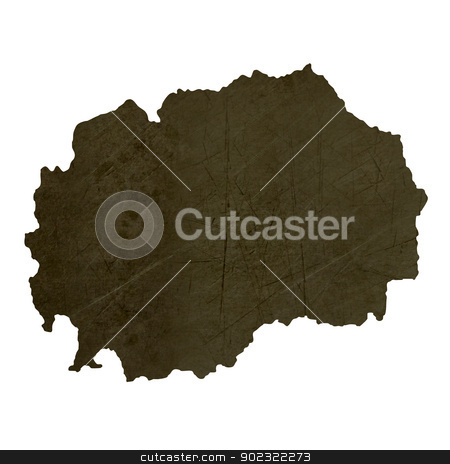 Dark silhouetted map of Macedonia stock photo, Dark silhouetted and textured map of Macedonia isolated on white background. by Martin Crowdy