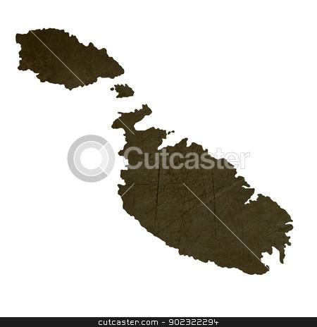 Dark silhouetted map of Malta stock photo, Dark silhouetted and textured map of Malta isolated on white background. by Martin Crowdy