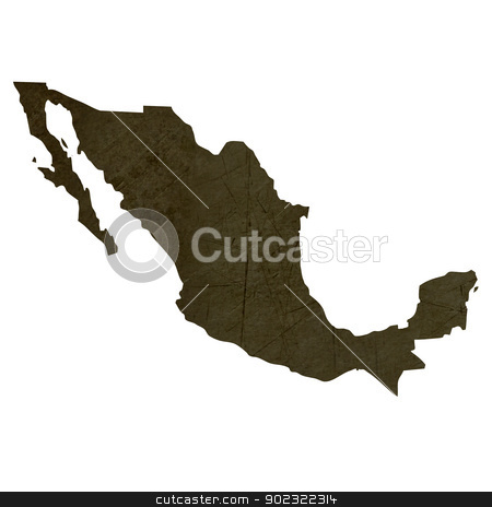 Dark silhouetted map of Mexico stock photo, Dark silhouetted and textured map of Mexico isolated on white background. by Martin Crowdy