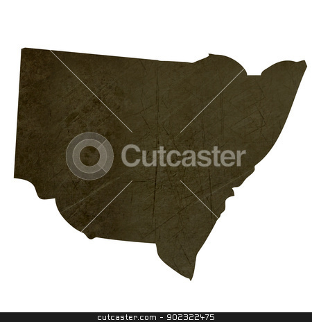 Dark silhouetted map of New South Wales stock photo, Dark silhouetted and textured map of New South Wales province of Australia  isolated on white background. by Martin Crowdy