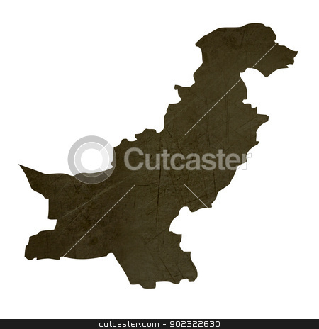 Dark silhouetted map of Pakistan stock photo, Dark silhouetted and textured map of Pakistan isolated on white background. by Martin Crowdy