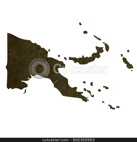 Dark silhouetted map of Papa New Guinea stock photo, Dark silhouetted and textured map of Papa New Guinea isolated on white background. by Martin Crowdy