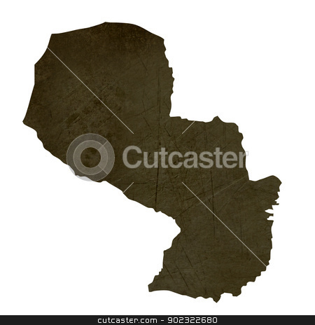 Dark silhouetted map of Paraguay stock photo, Dark silhouetted and textured map of Paraguay isolated on white background. by Martin Crowdy