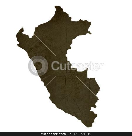Dark silhouetted map of Peru stock photo, Dark silhouetted and textured map of Peru isolated on white background. by Martin Crowdy