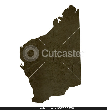 Dark silhouetted map of province of Western Australia stock photo, Dark silhouetted and textured map of province of Western Australia isolated on white background. by Martin Crowdy