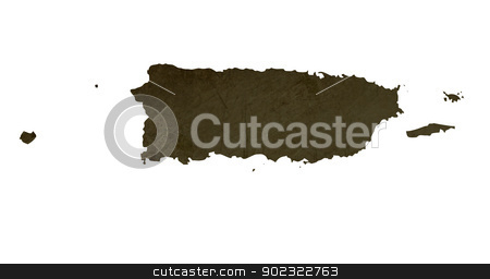 Dark silhouetted map of Puerto Rico stock photo, Dark silhouetted and textured map of Puerto Rico isolated on white background. by Martin Crowdy