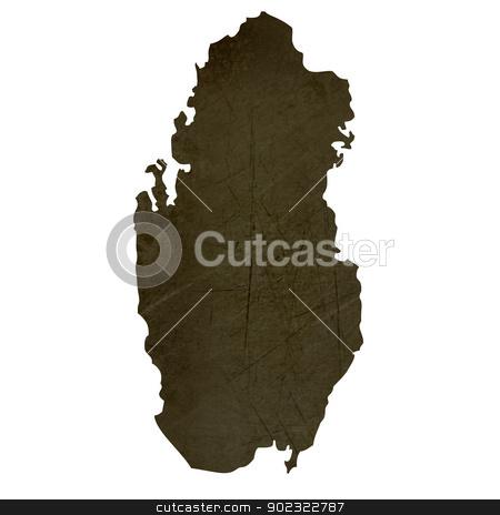 Dark silhouetted map of Qatar stock photo, Dark silhouetted and textured map of Qatar isolated on white background. by Martin Crowdy